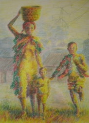 Zulu woman and children in South Africa