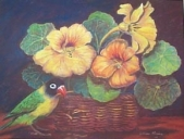 Lovebird and flowers